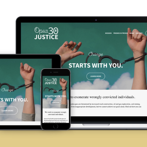 Opus 30 Justice website mockup on laptop, tablet and mobile devices